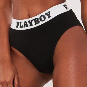 Playboy x Missguided Black Highwaisted Panties